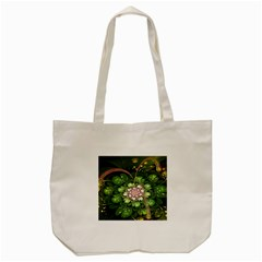 Fractal Flower Petals Green  Tote Bag (cream) by amphoto