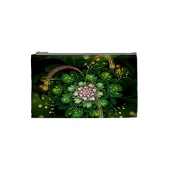 Fractal Flower Petals Green  Cosmetic Bag (small)  by amphoto