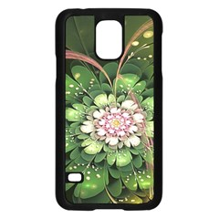 Fractal Flower Petals Green  Samsung Galaxy S5 Case (black) by amphoto