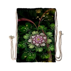 Fractal Flower Petals Green  Drawstring Bag (small) by amphoto