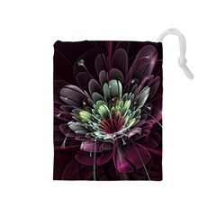 Flower Burst Background  Drawstring Pouches (medium)  by amphoto