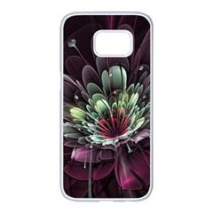 Flower Burst Background  Samsung Galaxy S7 Edge White Seamless Case by amphoto