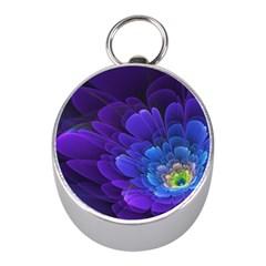Purple Flower Fractal  Mini Silver Compasses by amphoto