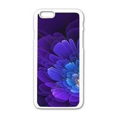 Purple Flower Fractal  Apple Iphone 6/6s White Enamel Case by amphoto
