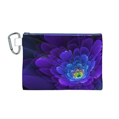 Purple Flower Fractal  Canvas Cosmetic Bag (m) by amphoto