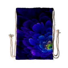 Purple Flower Fractal  Drawstring Bag (small) by amphoto