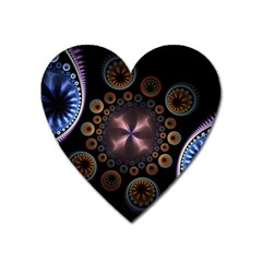 Circles Colorful Patterns  Heart Magnet by amphoto