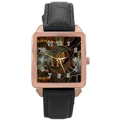 Mosaics Stained Glass Colorful  Rose Gold Leather Watch  by amphoto