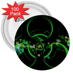 Radiation Sign Spot  3  Buttons (100 Pack)  by amphoto