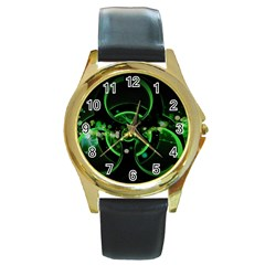Radiation Sign Spot  Round Gold Metal Watch by amphoto