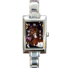 Steampunk Wonderful Wild Horse With Clocks And Gears Rectangle Italian Charm Watch by FantasyWorld7