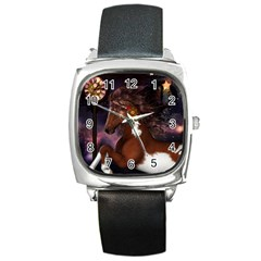 Steampunk Wonderful Wild Horse With Clocks And Gears Square Metal Watch by FantasyWorld7