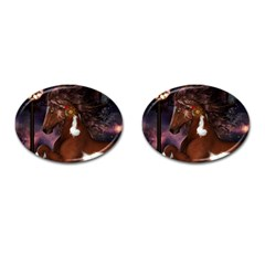 Steampunk Wonderful Wild Horse With Clocks And Gears Cufflinks (oval) by FantasyWorld7