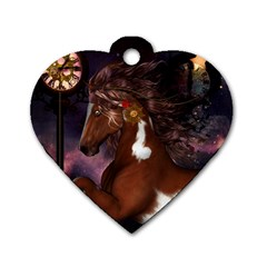Steampunk Wonderful Wild Horse With Clocks And Gears Dog Tag Heart (one Side) by FantasyWorld7
