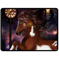 Steampunk Wonderful Wild Horse With Clocks And Gears Fleece Blanket (large)  by FantasyWorld7