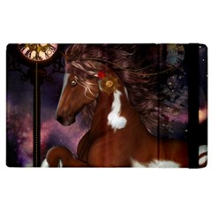 Steampunk Wonderful Wild Horse With Clocks And Gears Apple Ipad 3/4 Flip Case by FantasyWorld7