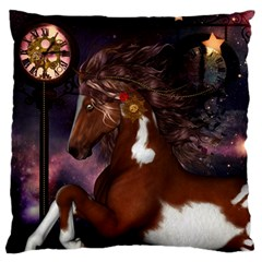 Steampunk Wonderful Wild Horse With Clocks And Gears Standard Flano Cushion Case (two Sides) by FantasyWorld7