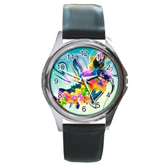 Parrot Abstraction Patterns Round Metal Watch by amphoto