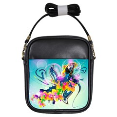 Parrot Abstraction Patterns Girls Sling Bags by amphoto