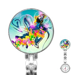 Parrot Abstraction Patterns Stainless Steel Nurses Watch by amphoto