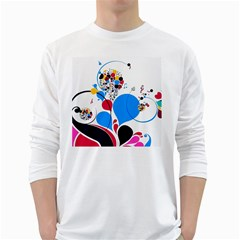 Patterns Colorful Bright  White Long Sleeve T Shirts by amphoto