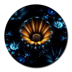 Fractal Flowers Abstract  Round Mousepads by amphoto