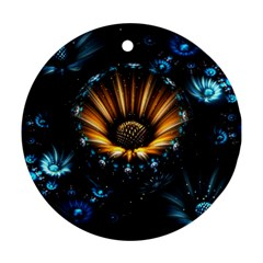 Fractal Flowers Abstract  Round Ornament (two Sides) by amphoto