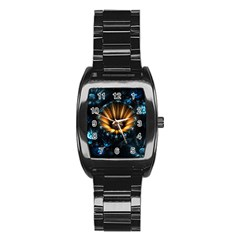 Fractal Flowers Abstract  Stainless Steel Barrel Watch by amphoto