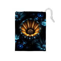 Fractal Flowers Abstract  Drawstring Pouches (medium)  by amphoto
