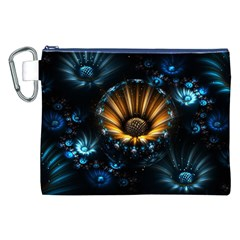 Fractal Flowers Abstract  Canvas Cosmetic Bag (xxl) by amphoto