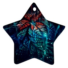 Fractal Flower Shiny  Star Ornament (two Sides) by amphoto