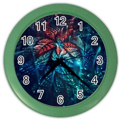 Fractal Flower Shiny  Color Wall Clocks by amphoto