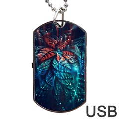 Fractal Flower Shiny  Dog Tag Usb Flash (one Side) by amphoto