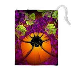 Patterns Lines Purple  Drawstring Pouches (extra Large) by amphoto