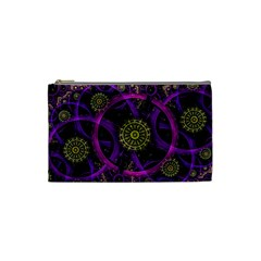 Fractal Neon Rings  Cosmetic Bag (small)  by amphoto