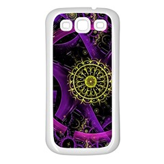 Fractal Neon Rings  Samsung Galaxy S3 Back Case (white) by amphoto