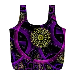 Fractal Neon Rings  Full Print Recycle Bags (l)  by amphoto