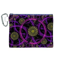 Fractal Neon Rings  Canvas Cosmetic Bag (xl) by amphoto
