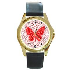 Butterfly Round Gold Metal Watch by Nexatart