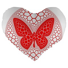 Butterfly Large 19  Premium Heart Shape Cushions by Nexatart