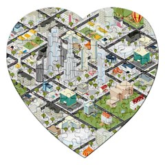 Simple Map Of The City Jigsaw Puzzle (heart) by Nexatart