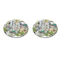 Simple Map Of The City Cufflinks (oval) by Nexatart