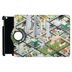 Simple Map Of The City Apple Ipad 3/4 Flip 360 Case by Nexatart
