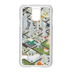 Simple Map Of The City Samsung Galaxy S5 Case (white) by Nexatart