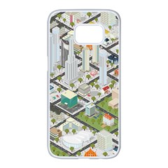 Simple Map Of The City Samsung Galaxy S7 Edge White Seamless Case by Nexatart