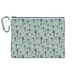Telephone Lines Repeating Pattern Canvas Cosmetic Bag (xl) by Nexatart