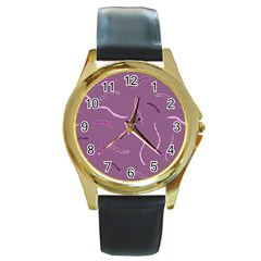 Plumelet Pen Ethnic Elegant Hippie Round Gold Metal Watch by Nexatart