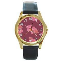 Plumelet Pen Ethnic Elegant Hippie Round Gold Metal Watch by Nexatart