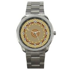 Mandala Art Ornament Pattern Sport Metal Watch by Nexatart