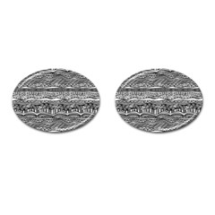 Ethno Seamless Pattern Cufflinks (oval) by Nexatart
